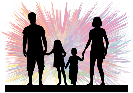 Famille silhouettes noires. Abstract background. Banque d'images - 66321547