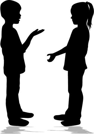 Two children talking, black silhouettes conceptual.