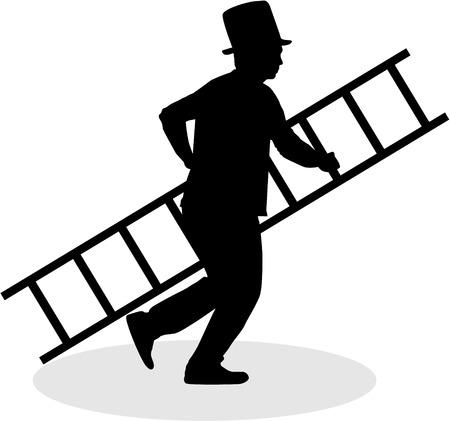 Schoorsteenveger met een ladder. Zwarte silhouet. Stock Illustratie