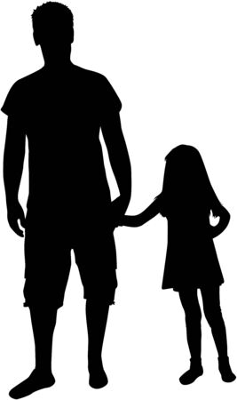 father and child: Silhouette father of the child.