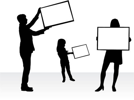 son of man: Silhouette family with placards. White background. Illustration