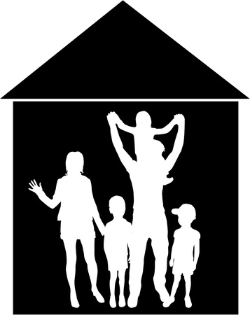 happy couple at home: Vector silhouette of family.The house in the background.