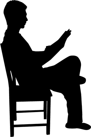silueta hombre: Silueta de un hombre con un libro. Vectores