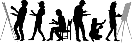Silhouettes of easel painters. Silhouettes conceptual.