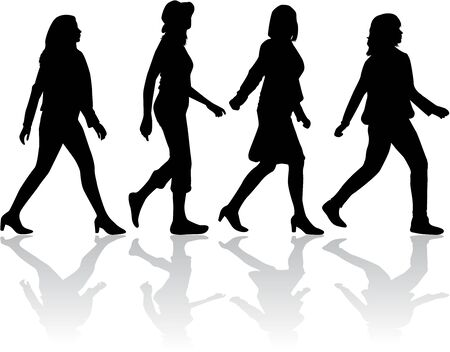 woman walk: Group of people. Crowd of people silhouettes.