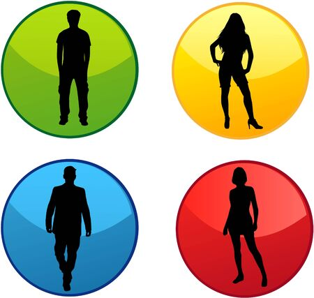 Conceptual silhouettes of people. Colored buttons.