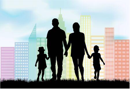 Silhouet van de familie, stedelijke achtergrond.