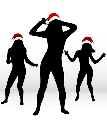 male friends: Dancing people. Christmas background . Illustration