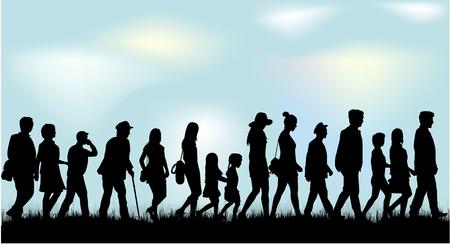 black people: People walking black silhouettes.