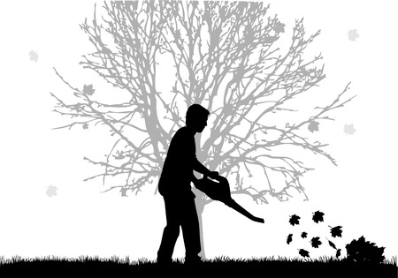 unrecognizable person: Silhouette of a man with a leaf blower. Illustration