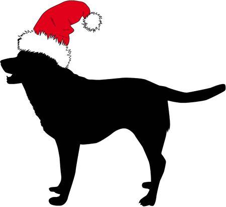 산타 모자에서 개입니다. 검은 실루엣.