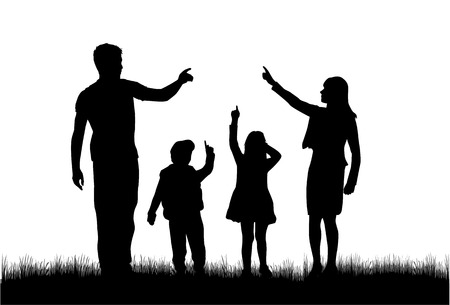 gesticulation: Vector silhouette of family. Illustration
