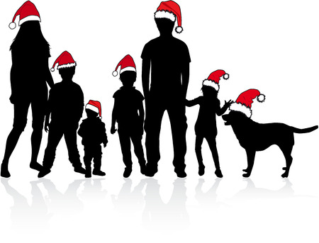 animal silhouette: Silhouettes family in santa caps. Illustration