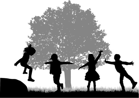 Children playing outside. White background.