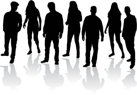 black people: Group of people , black silhouettes. Illustration