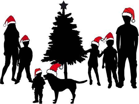 クリスマス ツリーの家族。黒のシルエット。