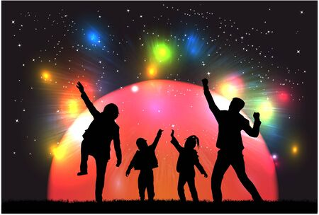 Family silhouettes in nature.Colorful lights in the background. Illustration