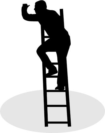 renovating: Silhouette of a man on a ladder.