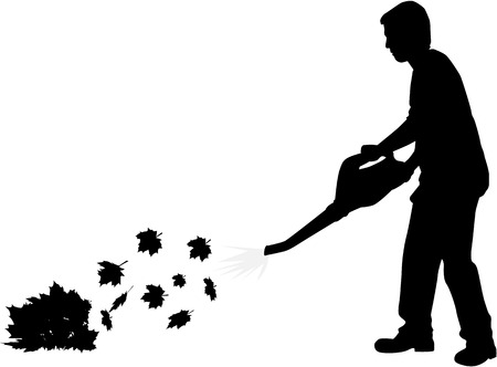 Silhouette of a man with a leaf blower. Çizim