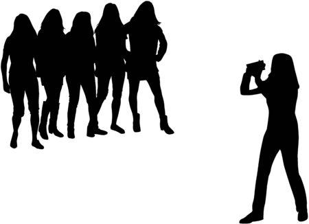 Women with a camera on white background. Ilustração