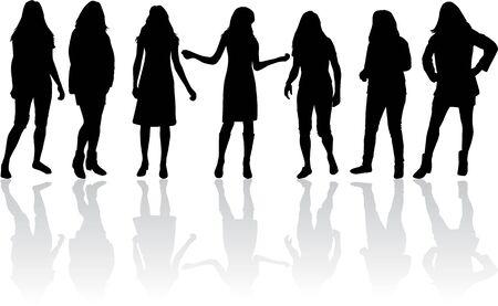 siluetas de mujeres: Siluetas de la Mujer Vectores