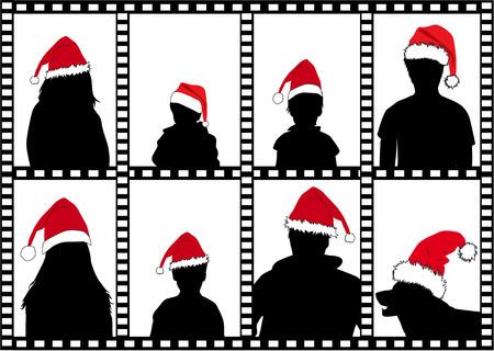 Silhouettes family in santa caps. Frame.