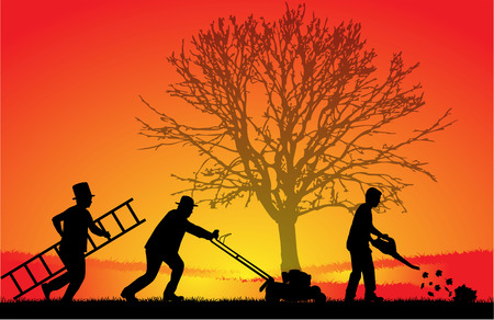 Silhouettes of people cleaning the garden. Illustration