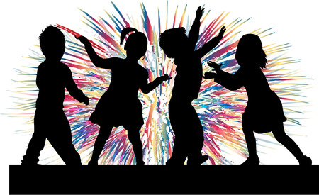 people: Dancing children. Silhouettes people conceptual. Illustration