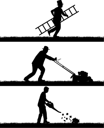 yards: Silhouettes of people cleaning the garden. Illustration