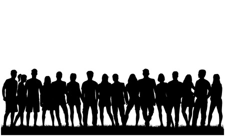 people group: Group of people. Crowd of people silhouettes.