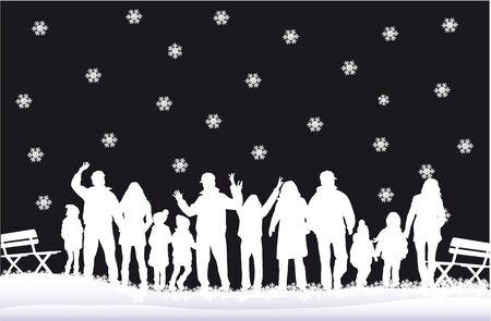 Silhouette family of winter. Illustration