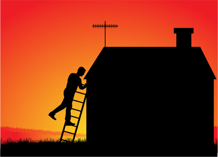 chimney sweep: Chimney sweep with a ladder on the roof.