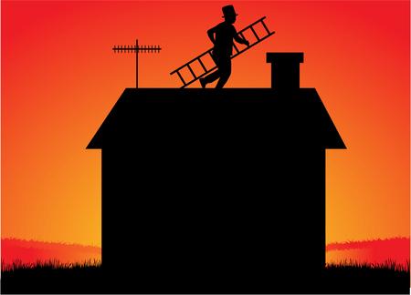 Schoorsteenveger met een ladder op het dak. Stock Illustratie