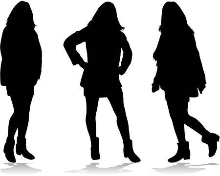 hair style fashion: Black silhouettes of women.