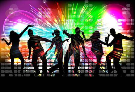 gente bailando: Dancing people silhouettes. Abstract background. Vectores