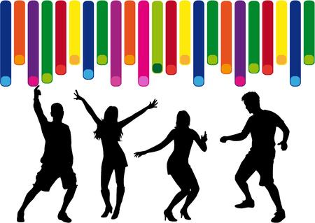 gente bailando: Bailando siluetas personas. Vectores