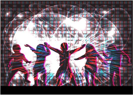 children at play: Dancing children. Silhouettes people conceptual. Illustration