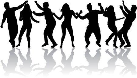 gente bailando: Bailando Siluetas de la gente. Siluetas negras.