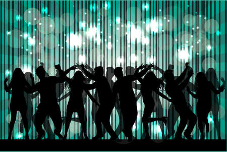 people: Dancing people silhouettes. Abstract background. Illustration