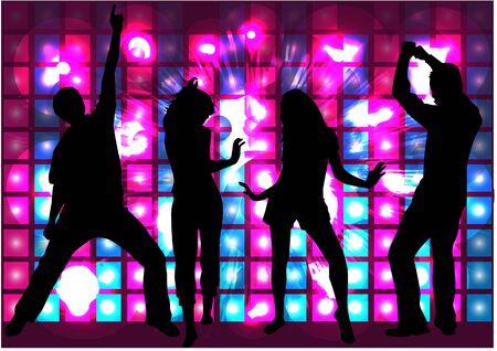 modelos hombres: Bailando Siluetas de la gente. Fondo abstracto.