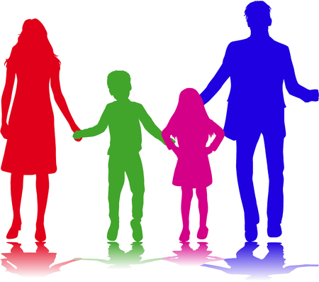 shadows: Vector silhouette of family. Illustration