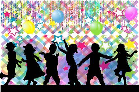 Dancing children. Silhouettes people conceptual. Illustration