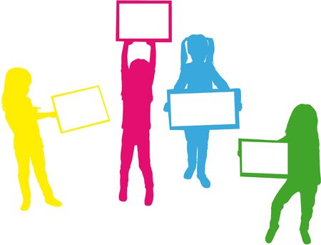 Silhouettes of children with pieces of paper. Illustration