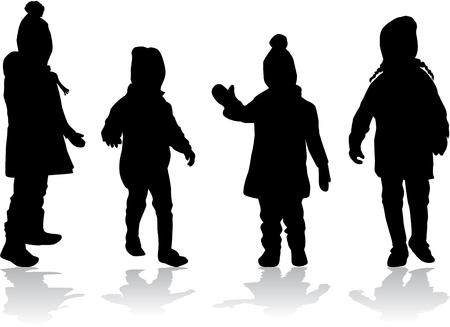 child care: Vector silhouette of children on white background.
