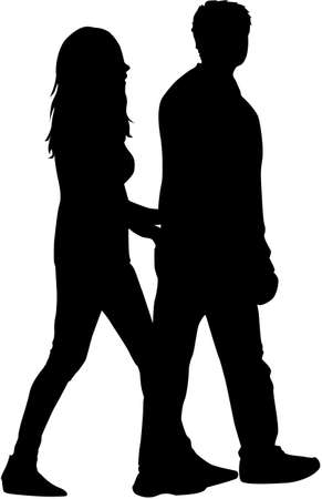 male friends: People silhouettes - couples