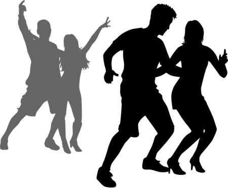 woman male: Dancing people silhouettes.