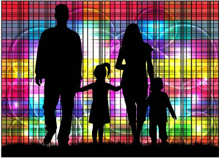 child care: Family silhouettes . Abstract background.