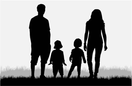 child care: Vector silhouette of family. Illustration
