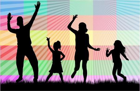 relatives: Vector silhouette of family. Illustration