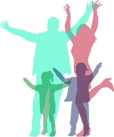 Dancing family silhouettes . Illustration